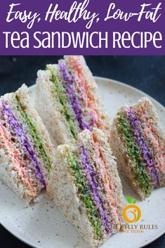A sandwich recipe that is perfect for tea parties, snack time or even lunchboxes. Packed with the goodness of colorful veggies, and strained yogurt these pretty delicious bites are sure to impress everyone. High Tea Sandwiches, Finger Sandwiches, Sandwiches For Parties, Easter Snacks, Easter Food, Easter Recipes, Homemade Yogurt Recipes, Afternoon Tea Recipes, Tea Snacks