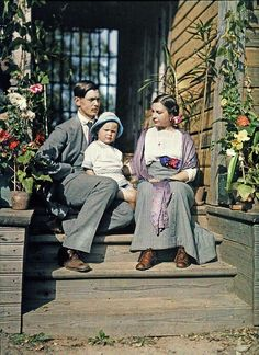Rimsky-Korsakov and his wife Olga with their son Andrey on the steps of their dacha, c.1912