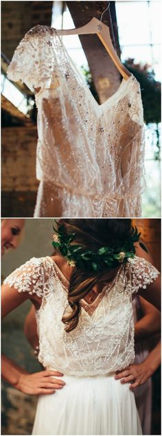 Beaded wedding dress, fluttering cap sleeves, chic bridal gown // Karli Ryan Photo #WeddingCrowns