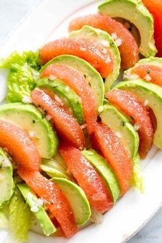 Grapefruit avocado salad! Healthy and delicious, grapefruit segments arranged with avocado slices, splashed with a citrus vinaigrette. #paleo #vegan #glutenfree Get the recipe on http://SimplyRecipes.com