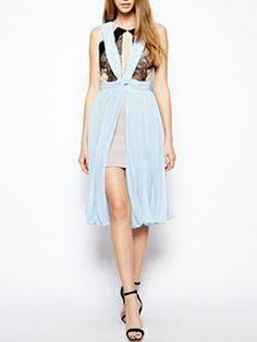 Light Blue Pleats Dress With Lace Panel - Fashion Clothing, Latest Street Fashion At Abaday.com