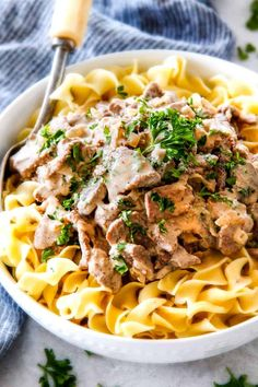 """This is by far my family's favorite Slow Cooker Beef Stroganoff recipe! An ultra rich and creamy, amazingly flavorful sauce (without any """"cream of"""" anything!), crazy tender meat all made in the crockpot for a gourmet meal with hardly any effort! Slow Cooker Beef Stroganoff Recipe, Slow Cooker Brisket, Beef Brisket Recipes, Crock Pot Slow Cooker, Slow Cooker Recipes, Cooking Recipes, Crockpot Recipes, Beef Gravy, Crockpot Dishes"""