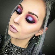 Modern Eye Makeup~ Pinks-Purple-Silver- BOLD #makeuplooksfall #eyeshadowslooks #pinkeyeshadows #eyemakeup