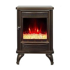 Electric Stove Fireplace Heater Portable Vintage LED Flame