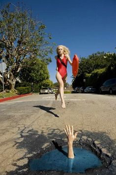 Potholes is a highly imaginative series transforming the bad into good, creating a tongue-in-cheek collection of surreal photographs honouring the global problem of holes in the road. Canadian photographers Claudia Ficca and Davide Luciano came up with the idea after hitting a pothole in their neighbourhood and now produce and publish their quirky work on the website MyPotholes. Here: Baywatch