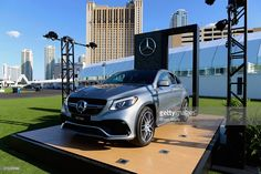 A Mercedes Benz AMG GLE Coupe is displayed during an exclusive preview of Rock in Rio's City of Rock at the MGM Resorts Festival Grounds on May 5, 2015 in Las Vegas, Nevada.