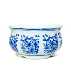 Cobalt Blue & White Floral Ceramic Planter