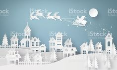 Illustration of Santa Claus on the sky coming to City royalty-free 일러스트