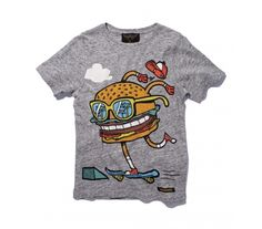 Finger in the Nose SS 14 - Dalton Heather Grey Skate Burger Graphic Tee Shirts, T Shirts, Skate Style, Toddler Fashion, Cute Baby Animals, Toddler Boys, Stylish Outfits, Cool Style, Sweaters