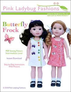 Pink Ladybug Scalloped A-line Dress Doll Clothes Pattern 18 inch American Girl Dolls Girl Doll Clothes, Doll Clothes Patterns, Pdf Sewing Patterns, Doll Patterns, Clothing Patterns, Girl Dolls, Ag Dolls, Barbie Clothes, Dress Patterns
