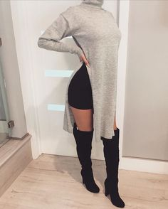 NEW Double Slit Top + Madeleine Suede Boots | Also Available In Grey✔️ #zieboutique #newarrivals #greystyles #fashion