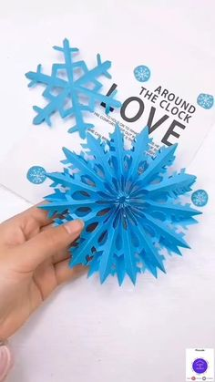 Snowflake Decorations, Origami Decoration, Winter Decorations, Paper Crafts Origami, Origami Art, Hobbies And Crafts, Crafts For Kids, Diy Crafts, Snowflake Origami