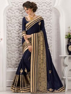 Buy sarees online from among a variety of latest designer sarees. Grab this art silk navy blue classic designer saree. Latest Indian Saree, Indian Sarees Online, Indian Beauty Saree, Indian Engagement Dress, Navy Blue Saree, Saree Models, Stylish Sarees, Latest Designer Sarees, Elegant Saree