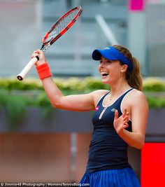 Alize Cornet's reaction after beating the 2014 Madrid finalist Simona Halep #MMOPEN15