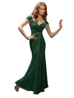 This elegant long gown features a wide V-neck bodice with cap sleeves and a V-back. Beaded accents the natural waist. Ruched bodice and draped mermaid skirt.