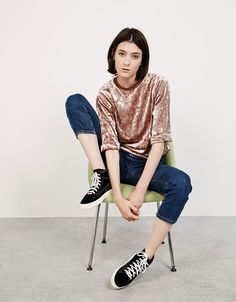 Oversized shimmer and velvet top. Discover this and many more items in Bershka with new products every week