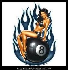 pinup-girl-sitting-on-8-ball-tattoo-design.jpg (318×327)