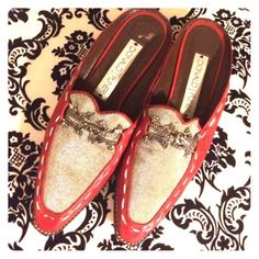 Donald J Pliner A must have super trendy and fashionable, loafers with a little bit of a wooden heel. Silver stitching around the shoe, and a beautiful bright red. Comfy and easy to sleep on  Donald J. Pliner Shoes Flats & Loafers