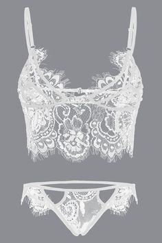 White Sexy Random Printed Lace Details Lingerie Set