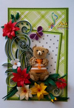 neli: Quilling card with teddy bear