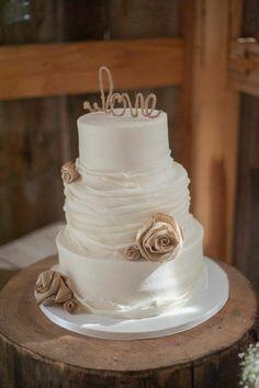 Rustic Barn Wedding Cake with Burlap / http://www.deerpearlflowers.com/rustic-country-burlap-wedding-cakes/2/