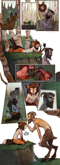 first meeting by Fukari I love Fukari's art so much, but this fox and satyr that she has done recently I just adore. Cute Comics, Fantasy, Character Design, Drawings, Fantasy Art, Amazing Art, Mythical Creatures, Illustration Art, Art