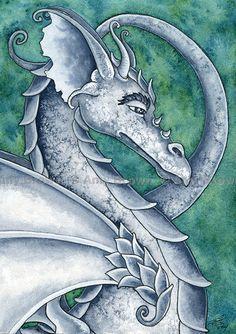 gray dragon painting - Amy Brown