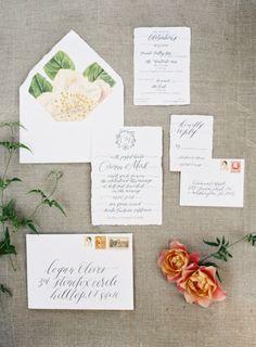 Romantic wedding invitations: http://www.stylemepretty.com/2014/12/04/intimate-summer-wedding-at-san-ysidro-ranch/ | Photography: Kurt Boomer - http://kurtboomer.com/