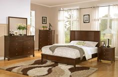Coaster Addley Low Profile Panel Bedroom Set - Dark Cherry