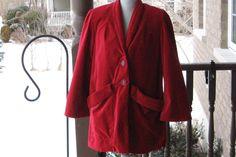 Vintage Cherry Red Cotton & Velvet Jacket by DATChameleon on Etsy Victorian Coat, Swing Coats, Velvet Jacket, Cotton Velvet, Cherry Red, Retro, Jackets, Handmade, Stuff To Buy