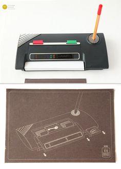 80s AACHEN Desk Organizer Liquid Crystal Thermometer 90s - Memphis Pop Art Magistretti Modern Plastic Design Pen Paper tape office