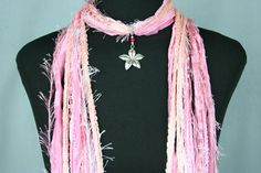 Hawaiian Flower Scarf Necklace Ribbon Scarf by FiberArtAccents
