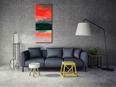 Rozmiar 50x150, boki 4cm  Obraz malowany na płótnie lnianym, naciągniętym na grubą sosnową blejtrame, nie wymaga obramowania, boki zamalowane jako kontynuacja obrazu. #obraz-do-salonu #canvas #obraz #design #art Sofa, Couch, Painting Canvas, Bedroom, Table, Furniture, Design, Home Decor, Living Room