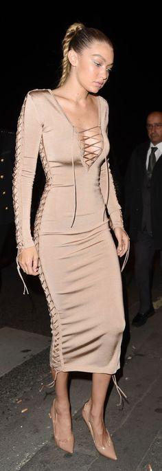 Gigi Hadid – Balmain Fashion Show, After Party in Paris.