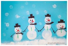 Make super cute Sponge Stamped Snowman Craft  and use them as  wrapping paper. They are super cute and kids will have a blast stamping them and adding details