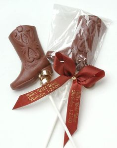 Personalized Chocolate Cowboy Boots Lollipops