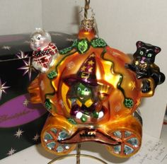 Christopher-Radko-Halloween-Pumpkin-Coach-Witch-Ghost-Cat-Ornament-MIB-RARE-HTF