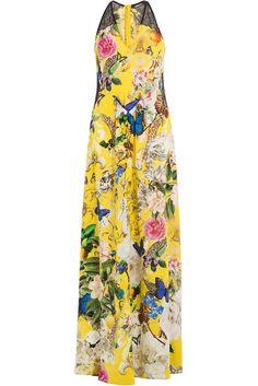 #Roberto #Cavalli #Blumenkleid aus #Seide #, #Multicolor für #Damen - Rosen, Tulpen, Nelken – wie eine duftende Blumenwiese breitet sich dieses traumhaft schöne Sommerdress von Roberto Cavalli auf unserer Silhoütte aus  >  Luxuriös bedruckte Seiden, Multicolo > Blüten auf gelbem Untergrund, ärmellos, V > Ausschnitt, Rücken > Zip  >  Bodenlanger Maxi > Schnitt  >  Tragen zu Stiletto Heels und Clutch Bag