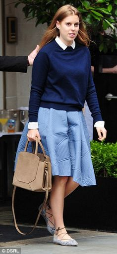 Relaxed: The Princess was chic in a blue ensemble teamed with £62 Kingdom shoes by Topshop