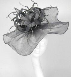 Grey Fascinator Kentucky Derby or Wedding Hat by Hatsbycressida