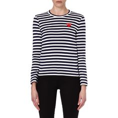Play Bretton heart top ($115) ❤ liked on Polyvore featuring tops, heart print top, striped long sleeve top, navy blue top, heart tops and navy stripe top