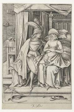 Paar gezeten op een hemelbed, Israhel van Meckenem, 1475  #PublicDomain