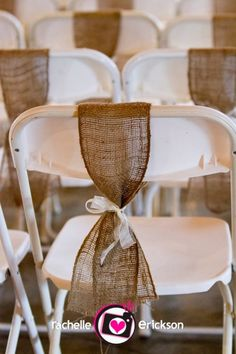 Burlap chair sash for back row of ceremony chairs - good idea for that extra burlap.   We rent white Samsonite chairs- check us out acmerental.com
