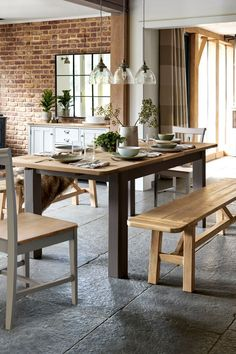 Buy Huxley Mole 6 to 8 Extending Dining Table from the Next UK online shop Table With Bench Seat, Kitchen Table Bench, Small Kitchen Tables, Glass Dining Table, Round Dining Table, Kitchen Ideas, Dining Sofa, Extendable Dining Table, Dining Room Furniture