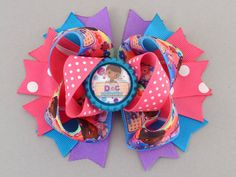This Doc McStuffins Hair Bow by MommysBowCreations was a cute complement to my daughter's birthday outfit!