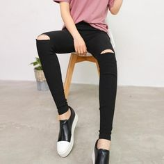 51d80809b78 2019 Women Vintage Hole Ripped Jeans Elasticity High Waist Skinny Jeans  Women Pencil Denim Pants Jeans