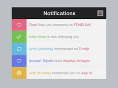 Notifications by Nuruzzaman Sheikh – honest, loveable notification flat design ready to upload to your UXPin account Flat Web Design, Web Design Blog, Tool Design, Ux Design, Graphic Design, Ui Design Patterns, Pattern Design, Design Thinking, Ui Color
