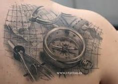 Vintage world maps compass compass with o old world body art compass tattoo google search gumiabroncs Gallery