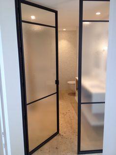 Windows and doors homemetal.be Glass Bathroom, Bathroom Doors, Bed Frame Sizes, Steel Doors And Windows, Room Divider Walls, Kids Bedroom Designs, Luxurious Bedrooms, Bathroom Interior Design, Glass Door