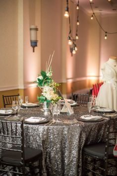 {A Crystal Clear Vision 2015} Linens: Waterford Event Rentals // Designer: Cherry Blossom Weddings // Photographer: Andrew and Tianna Photography